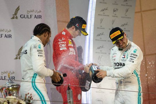 The podium (L to R): Race winner Lewis Hamilton (GBR) Mercedes AMG F1 celebrates with third placed Charles Leclerc (MON) Ferrari and second placed Valtteri Bottas (FIN) Mercedes AMG F1.