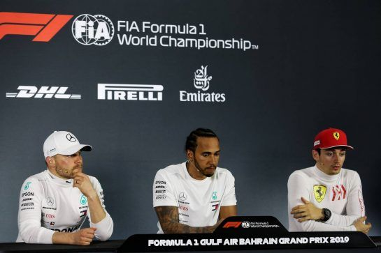 The post race FIA Press Conference (L to R): Valtteri Bottas (FIN) Mercedes AMG F1, second; Lewis Hamilton (GBR) Mercedes AMG F1, race winner; Charles Leclerc (MON) Ferrari, third.