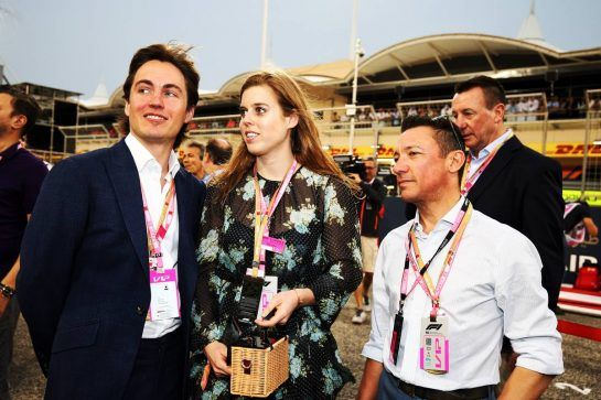 Princess Beatrice (GBR) (Centre) with Edoardo Mapelli Mozzi (Left) and Frankie Dettori (ITA) Jockey (Right).