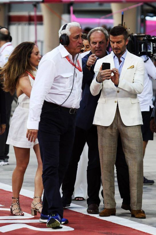 (L to R): Chloe Stroll (CDN) with her father Lawrence Stroll (CDN) Racing Point F1 Team Investor and David Beckham (GBR) Former Football Player.