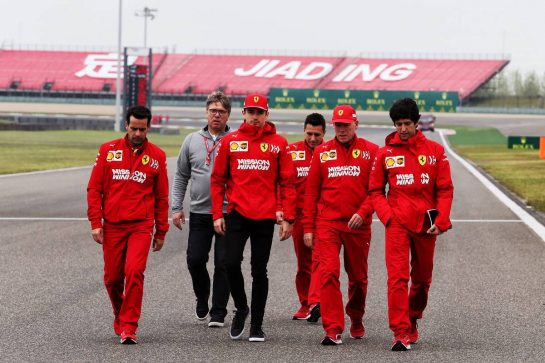 Charles Leclerc (MON) Ferrari walks the circuit with the team. 11.04.2019. Formula 1 World Championship, Rd 3, Chinese Grand Prix, Shanghai, China, Preparation Day. - www.xpbimages.com, EMail: requests@xpbimages.com - copy of publication required for printed pictures. Every used picture is fee-liable. © Copyright: Moy / XPB Images