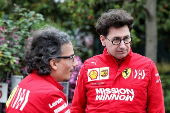 (L to R): Laurent Mekies (FRA) Ferrari Sporting Director with Mattia Binotto (ITA) Ferrari Team Principal. 11.04.2019. Formula 1 World Championship, Rd 3, Chinese Grand Prix, Shanghai, China, Preparation Day. - www.xpbimages.com, EMail: requests@xpbimages.com - copy of publication required for printed pictures. Every used picture is fee-liable. © Copyright: Moy / XPB Images