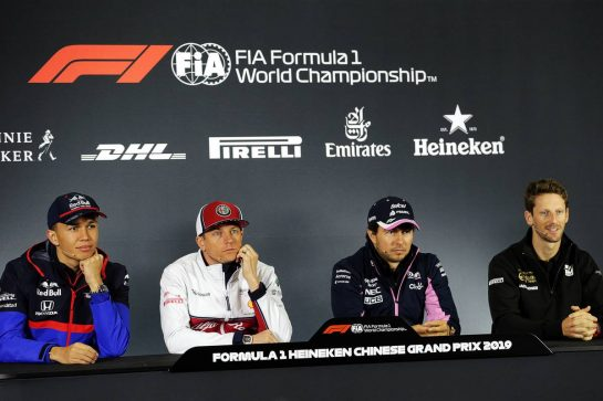 The FIA Press Conference (L to R): Alexander Albon (THA) Scuderia Toro Rosso; Kimi Raikkonen (FIN) Alfa Romeo Racing; Sergio Perez (MEX) Racing Point F1 Team; Romain Grosjean (FRA) Haas F1 Team. 11.04.2019. Formula 1 World Championship, Rd 3, Chinese Grand Prix, Shanghai, China, Preparation Day.  - www.xpbimages.com, EMail: requests@xpbimages.com - copy of publication required for printed pictures. Every used picture is fee-liable. © Copyright: Bearne / XPB Images