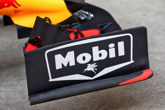 Red Bull Racing RB15 front wing - retro logo to celebrate 1000 F1 races with Esso and Mobil.  11.04.2019. Formula 1 World Championship, Rd 3, Chinese Grand Prix, Shanghai, China, Preparation Day. - www.xpbimages.com, EMail: requests@xpbimages.com - copy of publication required for printed pictures. Every used picture is fee-liable. © Copyright: Moy / XPB Images