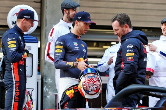 (L to R): Max Verstappen (NLD) Red Bull Racing with Pierre Gasly (FRA) Red Bull Racing and Christian Horner (GBR) Red Bull Racing Team Principal - 1000 F1 races with Esso and Mobil.  11.04.2019. Formula 1 World Championship, Rd 3, Chinese Grand Prix, Shanghai, China, Preparation Day. - www.xpbimages.com, EMail: requests@xpbimages.com - copy of publication required for printed pictures. Every used picture is fee-liable. © Copyright: Moy / XPB Images