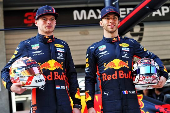 (L to R): Max Verstappen (NLD) Red Bull Racing and Pierre Gasly (FRA) Red Bull Racing celebrate 1000 F1 races with Esso and Mobil.  11.04.2019. Formula 1 World Championship, Rd 3, Chinese Grand Prix, Shanghai, China, Preparation Day. - www.xpbimages.com, EMail: requests@xpbimages.com - copy of publication required for printed pictures. Every used picture is fee-liable. © Copyright: Moy / XPB Images