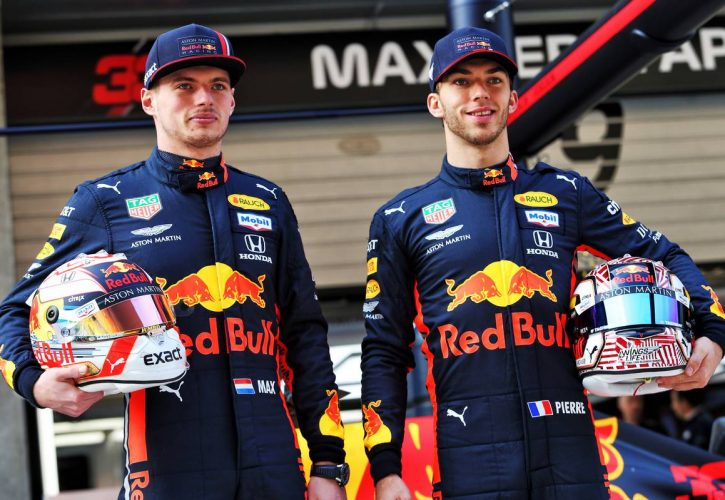 Max Verstappen (NLD) Red Bull Racing and Pierre Gasly (FRA) Red Bull Racing celebrate 1000 F1 races with Esso and Mobil.