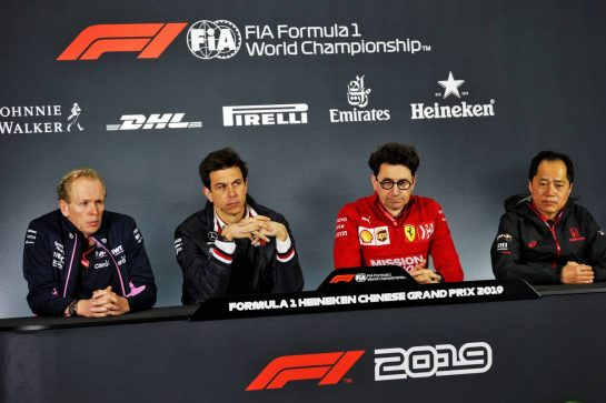 The FIA Press Conference (L to R): Andrew Green (GBR) Racing Point F1 Team Technical Director; Toto Wolff (GER) Mercedes AMG F1 Shareholder and Executive Director; Mattia Binotto (ITA) Ferrari Team Principal; and Toyoharu Tanabe (JPN) Honda F1 Technical Director. 12.04.2019. Formula 1 World Championship, Rd 3, Chinese Grand Prix, Shanghai, China, Practice Day.  - www.xpbimages.com, EMail: requests@xpbimages.com - copy of publication required for printed pictures. Every used picture is fee-liable. © Copyright: Bearne / XPB Images