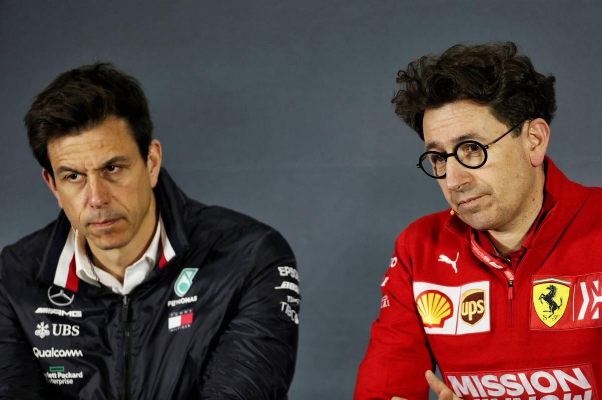 Toto Wolff (GER) Mercedes AMG F1 Shareholder and Executive Director and Mattia Binotto (ITA) Ferrari Team Principal in the FIA Press Conference.