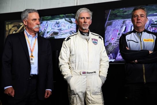 Unveiling of the 1000th F1 GP official design poster (L to R): Chase Carey (USA) Formula One Group Chairman; Damon Hill (GBR) Sky Sports Presenter; Mario Isola (ITA) Pirelli Racing Manager. 12.04.2019. Formula 1 World Championship, Rd 3, Chinese Grand Prix, Shanghai, China, Practice Day. - www.xpbimages.com, EMail: requests@xpbimages.com - copy of publication required for printed pictures. Every used picture is fee-liable. © Copyright: Batchelor / XPB Images