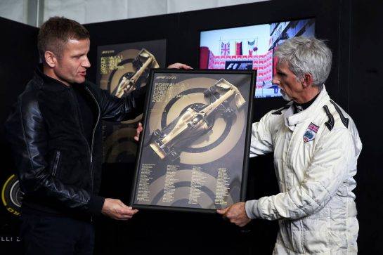 Unveiling of the 1000th F1 GP official design poster (L to R): Pavel Lurek, Automobilist CEO and Damon Hill (GBR) Sky Sports Presenter. 12.04.2019. Formula 1 World Championship, Rd 3, Chinese Grand Prix, Shanghai, China, Practice Day. - www.xpbimages.com, EMail: requests@xpbimages.com - copy of publication required for printed pictures. Every used picture is fee-liable. © Copyright: Batchelor / XPB Images