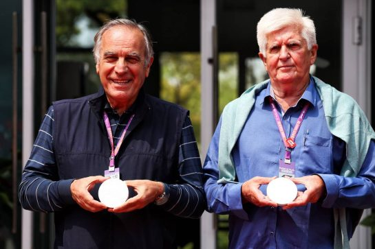 (L to R): Giorgio Piola (ITA) Journalist and Roger Benoit, Journalist - official 1000th Grand Prix coin presentation for the most Grand Prix attended. 12.04.2019. Formula 1 World Championship, Rd 3, Chinese Grand Prix, Shanghai, China, Practice Day. - www.xpbimages.com, EMail: requests@xpbimages.com - copy of publication required for printed pictures. Every used picture is fee-liable. © Copyright: Batchelor / XPB Images