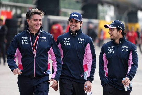 (L to R): Andy Stevenson (GBR) Racing Point F1 Team Manager with Lance Stroll (CDN) Racing Point F1 Team and Sergio Perez (MEX) Racing Point F1 Team. 12.04.2019. Formula 1 World Championship, Rd 3, Chinese Grand Prix, Shanghai, China, Practice Day. - www.xpbimages.com, EMail: requests@xpbimages.com - copy of publication required for printed pictures. Every used picture is fee-liable. © Copyright: Batchelor / XPB Images