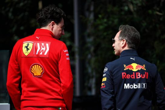 (L to R): Mattia Binotto (ITA) Ferrari Team Principal with Christian Horner (GBR) Red Bull Racing Team Principal. 13.04.2019. Formula 1 World Championship, Rd 3, Chinese Grand Prix, Shanghai, China, Qualifying Day. - www.xpbimages.com, EMail: requests@xpbimages.com - copy of publication required for printed pictures. Every used picture is fee-liable. © Copyright: Batchelor / XPB Images