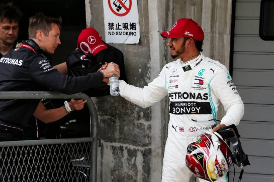 Lewis Hamilton (GBR) Mercedes AMG F1 in qualifying parc ferme. 13.04.2019. Formula 1 World Championship, Rd 3, Chinese Grand Prix, Shanghai, China, Qualifying Day. - www.xpbimages.com, EMail: requests@xpbimages.com - copy of publication required for printed pictures. Every used picture is fee-liable. © Copyright: Moy / XPB Images