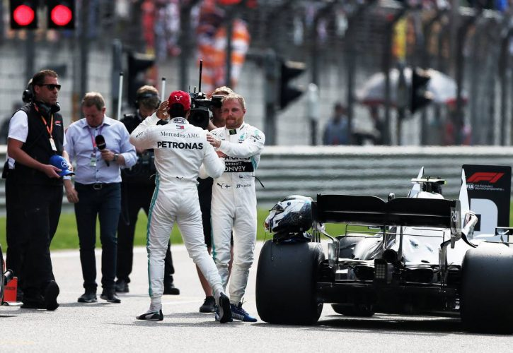 Valtteri Bottas (FIN) Mercedes AMG F1 celebrates his pole position in qualifying parc ferme with Lewis Hamilton (GBR) Mercedes AMG F1.