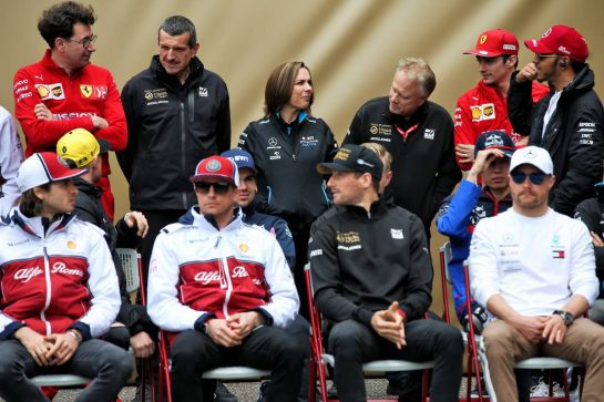 1000th F1 race photograph - (L to R): Mattia Binotto (ITA) Ferrari Team Principal; Guenther Steiner (ITA) Haas F1 Team Prinicipal; Claire Williams (GBR) Williams Racing Deputy Team Principal; Gene Haas (USA) Haas Automotion President. 14.04.2019. Formula 1 World Championship, Rd 3, Chinese Grand Prix, Shanghai, China, Race Day. - www.xpbimages.com, EMail: requests@xpbimages.com - copy of publication required for printed pictures. Every used picture is fee-liable. © Copyright: Batchelor / XPB Images