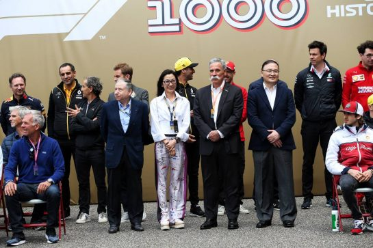 1000th F1 race group photograph - Jean Todt (FRA) FIA President; Michelle Yeoh (MAL); Chase Carey (USA) Formula One Group Chairman. 14.04.2019. Formula 1 World Championship, Rd 3, Chinese Grand Prix, Shanghai, China, Race Day. - www.xpbimages.com, EMail: requests@xpbimages.com - copy of publication required for printed pictures. Every used picture is fee-liable. © Copyright: Batchelor / XPB Images