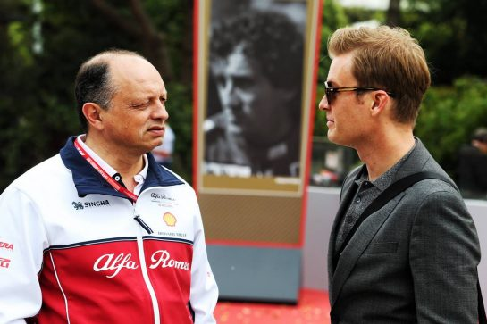 (L to R): Frederic Vasseur (FRA) Alfa Romeo Racing Team Principal with Nico Rosberg (GER). 14.04.2019. Formula 1 World Championship, Rd 3, Chinese Grand Prix, Shanghai, China, Race Day. - www.xpbimages.com, EMail: requests@xpbimages.com - copy of publication required for printed pictures. Every used picture is fee-liable. © Copyright: Moy / XPB Images