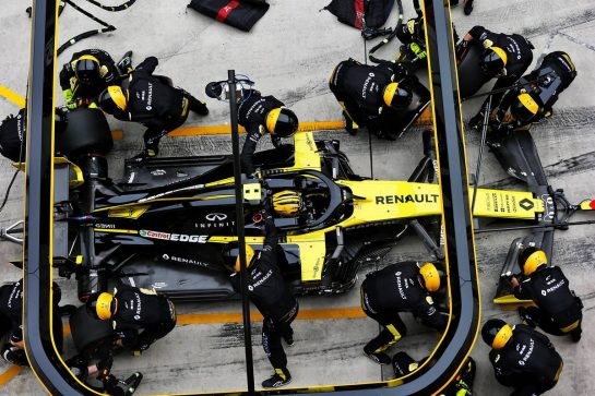 Nico Hulkenberg (GER) Renault F1 Team RS19 makes a pit stop. 14.04.2019. Formula 1 World Championship, Rd 3, Chinese Grand Prix, Shanghai, China, Race Day.  - www.xpbimages.com, EMail: requests@xpbimages.com - copy of publication required for printed pictures. Every used picture is fee-liable. © Copyright: Bearne / XPB Images