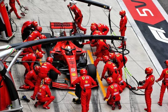 Sebastian Vettel (GER) Ferrari SF90 makes a pit stop. 14.04.2019. Formula 1 World Championship, Rd 3, Chinese Grand Prix, Shanghai, China, Race Day.  - www.xpbimages.com, EMail: requests@xpbimages.com - copy of publication required for printed pictures. Every used picture is fee-liable. © Copyright: Bearne / XPB Images