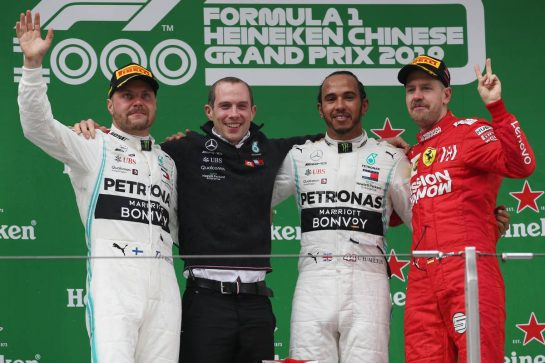 1st place Lewis Hamilton (GBR) Mercedes AMG F1 W10, 2nd place Valtteri Bottas (FIN) Mercedes AMG F1 W10 and 3rd place Sebastian Vettel (GER) Ferrari SF90. 14.04.2019. Formula 1 World Championship, Rd 3, Chinese Grand Prix, Shanghai, China, Race Day. - www.xpbimages.com, EMail: requests@xpbimages.com - copy of publication required for printed pictures. Every used picture is fee-liable. © Copyright: Batchelor / XPB Images