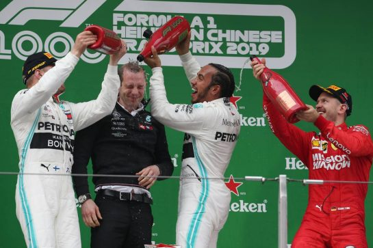 1st place Lewis Hamilton (GBR) Mercedes AMG F1 W10 with 2nd place Valtteri Bottas (FIN) Mercedes AMG F1 W10 and 3rd place Sebastian Vettel (GER) Ferrari SF90.14.04.2019. Formula 1 World Championship, Rd 3, Chinese Grand Prix, Shanghai, China, Race Day.- www.xpbimages.com, EMail: requests@xpbimages.com - copy of publication required for printed pictures. Every used picture is fee-liable. © Copyright: Batchelor / XPB Images