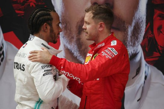 Lewis Hamilton (GBR) Mercedes AMG F1 W10 and Sebastian Vettel (GER) Ferrari SF90.14.04.2019. Formula 1 World Championship, Rd 3, Chinese Grand Prix, Shanghai, China, Race Day.- www.xpbimages.com, EMail: requests@xpbimages.com - copy of publication required for printed pictures. Every used picture is fee-liable. © Copyright: Batchelor / XPB Images