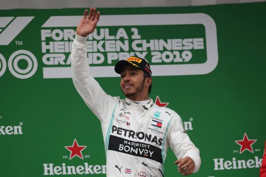 1st place Lewis Hamilton (GBR) Mercedes AMG F1.14.04.2019. Formula 1 World Championship, Rd 3, Chinese Grand Prix, Shanghai, China, Race Day.- www.xpbimages.com, EMail: requests@xpbimages.com - copy of publication required for printed pictures. Every used picture is fee-liable. © Copyright: Batchelor / XPB Images