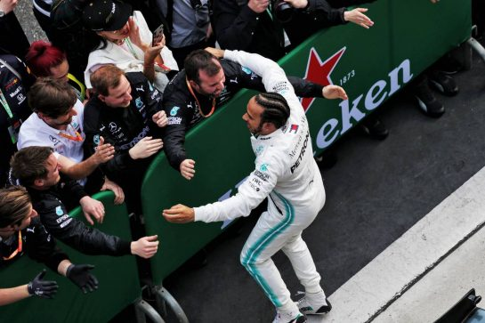 Race winner Lewis Hamilton (GBR) Mercedes AMG F1 celebrates in parc ferme. 14.04.2019. Formula 1 World Championship, Rd 3, Chinese Grand Prix, Shanghai, China, Race Day.  - www.xpbimages.com, EMail: requests@xpbimages.com - copy of publication required for printed pictures. Every used picture is fee-liable. © Copyright: Bearne / XPB Images