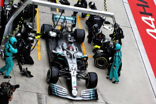Lewis Hamilton (GBR) Mercedes AMG F1 W10 makes a pit stop. 14.04.2019. Formula 1 World Championship, Rd 3, Chinese Grand Prix, Shanghai, China, Race Day.  - www.xpbimages.com, EMail: requests@xpbimages.com - copy of publication required for printed pictures. Every used picture is fee-liable. © Copyright: Bearne / XPB Images