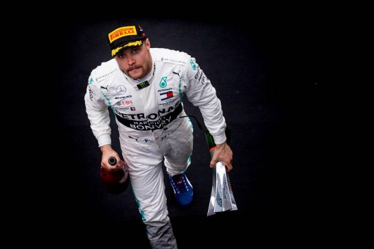 Valtteri Bottas (FIN) Mercedes AMG F1 celebrates his second position on the podium. 14.04.2019. Formula 1 World Championship, Rd 3, Chinese Grand Prix, Shanghai, China, Race Day.  - www.xpbimages.com, EMail: requests@xpbimages.com - copy of publication required for printed pictures. Every used picture is fee-liable. © Copyright: Bearne / XPB Images