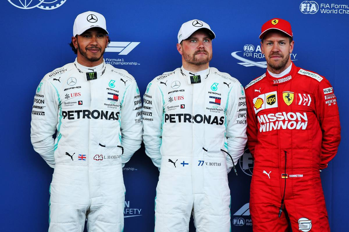 Qualifying top three in parc ferme: Lewis Hamilton (GBR) Mercedes AMG F1, second; Valtteri Bottas (FIN) Mercedes AMG F1, pole position; Sebastian Vettel (GER) Ferrari, third.