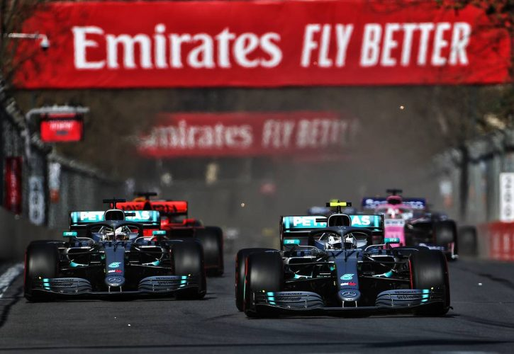 Valtteri Bottas (FIN) Mercedes AMG F1 W10 leads team mate Lewis Hamilton (GBR) Mercedes AMG F1 W10 at the start of the race.
