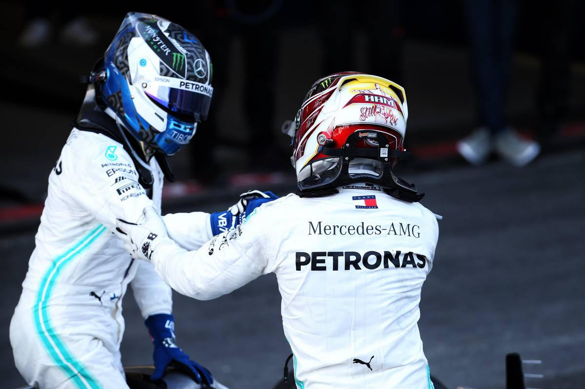 Race winner Valtteri Bottas (FIN) Mercedes AMG F1 W10 celebrates with second placed team mate Lewis Hamilton (GBR) Mercedes AMG F1 W10 in parc ferme.