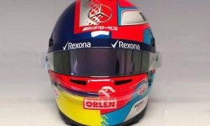 Russell unveils split-Montoya helmet design for 'race 1000'