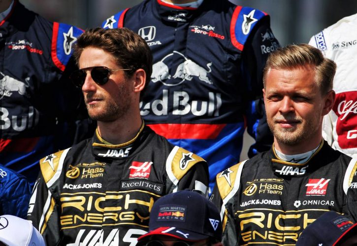 Haas drivers Romain Grosjean and Kevin Magnussen