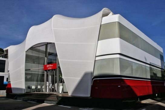 Alfa Romeo Racing motorhome. 09.05.2019. Formula 1 World Championship, Rd 5, Spanish Grand Prix, Barcelona, Spain, Preparation Day. - www.xpbimages.com, EMail: requests@xpbimages.com - copy of publication required for printed pictures. Every used picture is fee-liable. © Copyright: Batchelor / XPB Images
