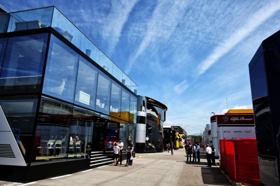 Racing Point F1 Team motorhome. 09.05.2019. Formula 1 World Championship, Rd 5, Spanish Grand Prix, Barcelona, Spain, Preparation Day. - www.xpbimages.com, EMail: requests@xpbimages.com - copy of publication required for printed pictures. Every used picture is fee-liable. © Copyright: Moy / XPB Images