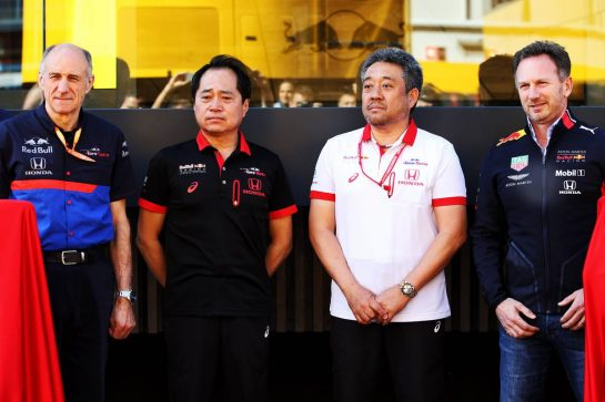 (L to R): Franz Tost (AUT) Scuderia Toro Rosso Team Principal; Toyoharu Tanabe (JPN) Honda Racing F1 Technical Director; Masashi Yamamoto (JPN) Honda Racing F1 Managing Director; Christian Horner (GBR) Red Bull Racing Team Principal.