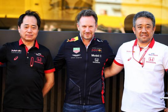 (L to R): Toyoharu Tanabe (JPN) Honda Racing F1 Technical Director; Christian Horner (GBR) Red Bull Racing Team Principal; Masashi Yamamoto (JPN) Honda Racing F1 Managing Director.