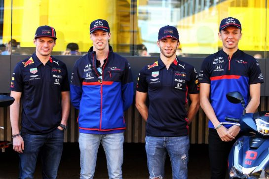 (L to R): Max Verstappen (NLD) Red Bull Racing; Daniil Kvyat (RUS) Scuderia Toro Rosso; Pierre Gasly (FRA) Red Bull Racing; Alexander Albon (THA) Scuderia Toro Rosso.