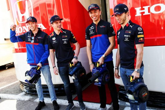 (L to R): Daniil Kvyat (RUS) Scuderia Toro Rosso; Max Verstappen (NLD) Red Bull Racing; Alexander Albon (THA) Scuderia Toro Rosso; Pierre Gasly (FRA) Red Bull Racing.