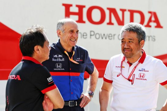(L to R): Toyoharu Tanabe (JPN) Honda Racing F1 Technical Director with Franz Tost (AUT) Scuderia Toro Rosso Team Principal and Masashi Yamamoto (JPN) Honda Racing F1 Managing Director.
