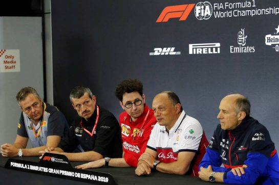 The FIA Press Conference (L to R): Mario Isola (ITA) Pirelli Racing Manager; Guenther Steiner (ITA) Haas F1 Team Prinicipal; Mattia Binotto (ITA) Ferrari Team Principal; Frederic Vasseur (FRA) Alfa Romeo Racing Team Principal; Franz Tost (AUT) Scuderia Toro Rosso Team Principal. 10.05.2019. Formula 1 World Championship, Rd 5, Spanish Grand Prix, Barcelona, Spain, Practice Day. - www.xpbimages.com, EMail: requests@xpbimages.com - copy of publication required for printed pictures. Every used picture is fee-liable. © Copyright: Moy / XPB Images