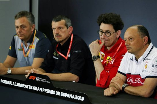 The FIA Press Conference (L to R): Mario Isola (ITA) Pirelli Racing Manager; Guenther Steiner (ITA) Haas F1 Team Prinicipal; Mattia Binotto (ITA) Ferrari Team Principal; Frederic Vasseur (FRA) Alfa Romeo Racing Team Principal. 10.05.2019. Formula 1 World Championship, Rd 5, Spanish Grand Prix, Barcelona, Spain, Practice Day. - www.xpbimages.com, EMail: requests@xpbimages.com - copy of publication required for printed pictures. Every used picture is fee-liable. © Copyright: Moy / XPB Images