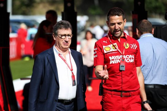 (L to R): Louis Camilleri (ITA) Ferrari Chief Executive Officer with Jonathan Giacobazzi (ITA) Ferrari Marketing Manager.