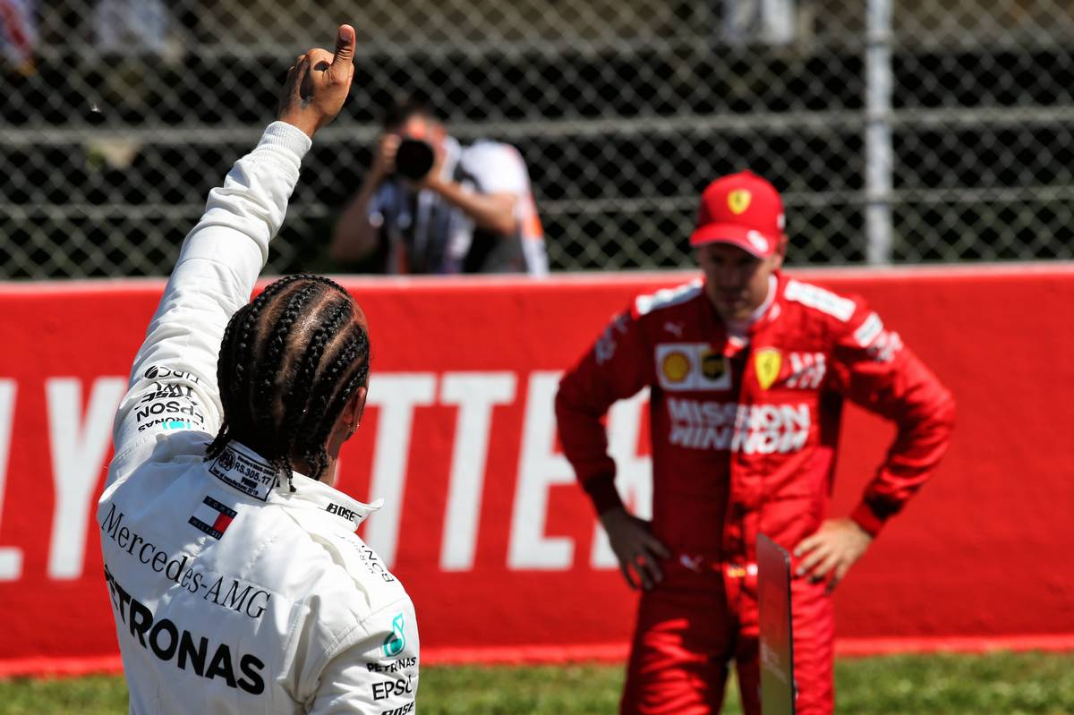 Lewis Hamilton (GBR) Mercedes AMG F1 celebrates his second position in qualifying parc ferme. 11.05.2019
