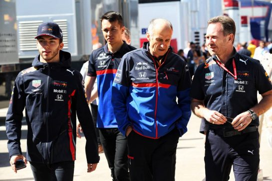 (L to R): Pierre Gasly (FRA) Red Bull Racing; Alexander Albon (THA) Scuderia Toro Rosso; Franz Tost (AUT) Scuderia Toro Rosso Team Principal; and Christian Horner (GBR) Red Bull Racing Team Principal.