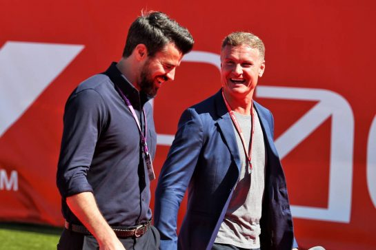 (L to R): Steve Jones (GBR) Channel 4 F1 Presenter and David Coulthard (GBR) Red Bull Racing and Scuderia Toro Advisor / Channel 4 F1 Commentator.